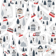 Christmas City Map. Nursery Vector Seamless Pattern With Roads, Houses, Forest, Cars, Animals. Limited Pastel Palette With Red