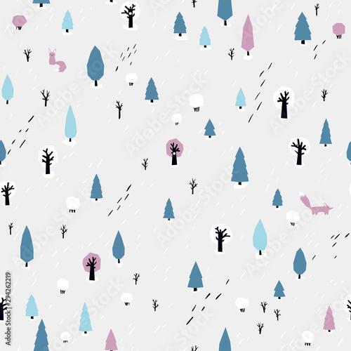 wzor-lasu-z-lisem-bezszwowe-tlo-wektor-w-prostym-stylu-skandynawskim-ograniczona-paleta-jest-idealna-do-drukowania-tekstyliow-tapet-w-pokoju-dziecinnym