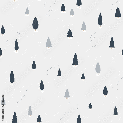 Forest pattern. Vector seamless background in simple scandinavian style. The limited palette is ideal for printing, textiles, wallpaper in the nursery