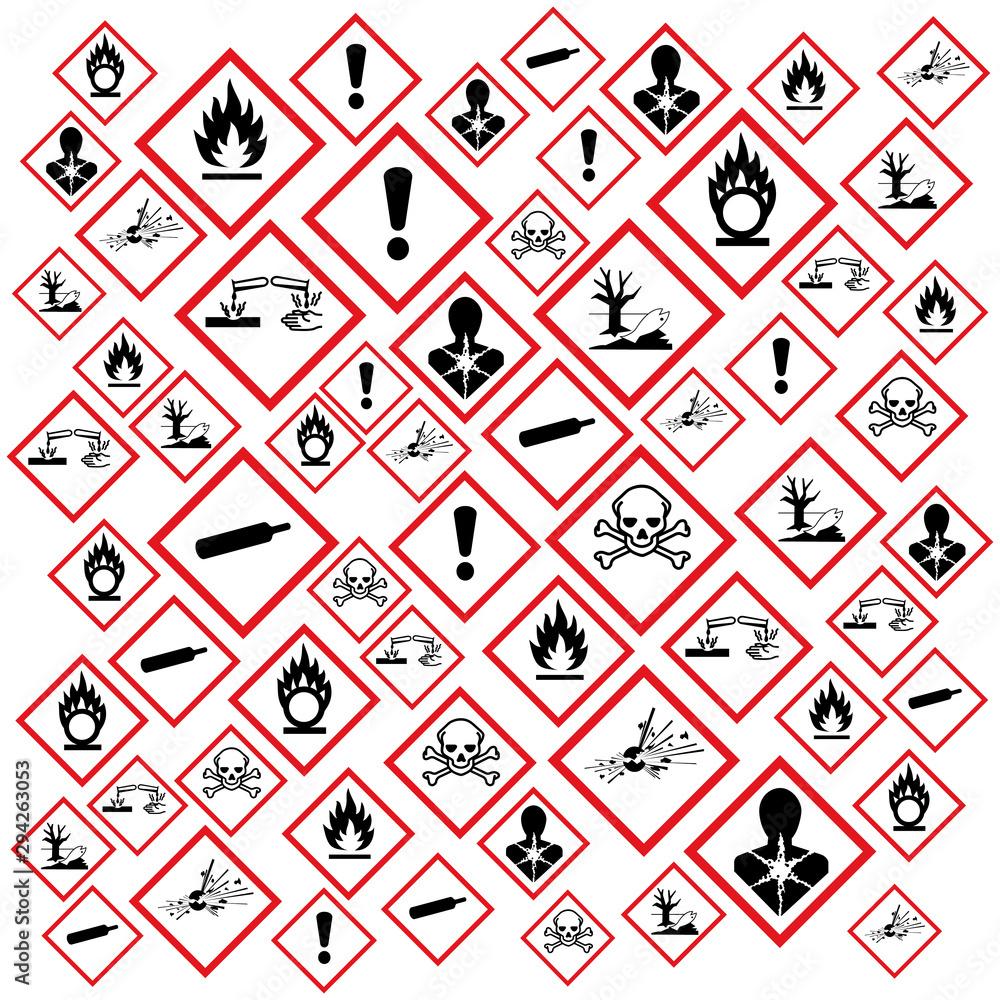 Fototapeta Pictogrammes danger GHS.
