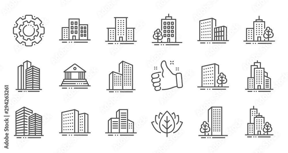 Fototapeta Buildings line icons. Bank, Hotel, Courthouse. City, Real estate, Architecture buildings icons. Hospital, town house, museum. Urban architecture, city skyscraper. Linear set. Quality line set. Vector