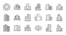 Buildings Line Icons. Bank, Ho...