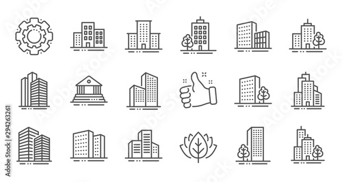 Buildings line icons. Bank, Hotel, Courthouse. City, Real estate, Architecture buildings icons. Hospital, town house, museum. Urban architecture, city skyscraper. Linear set. Quality line set. Vector