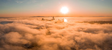 Beautiful Cloudy Morning In San Francisco, USA. Sunset Over The Clouds With Skyscrapers Rising Through The Clouds.