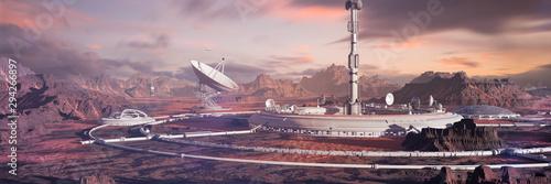 Fényképezés habitat on Mars surface, colony in desert landscape on the red planet