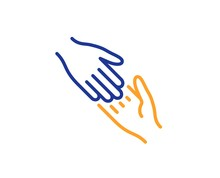 Give Gesture Sign. Helping Hand Line Icon. Charity Palm Symbol. Colorful Outline Concept. Blue And Orange Thin Line Helping Hand Icon. Vector