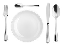Empty Plate, Spoon, Teaspoon, Fork, Knife, Cutlery Isolated On White Background, Clipping Path, Top View