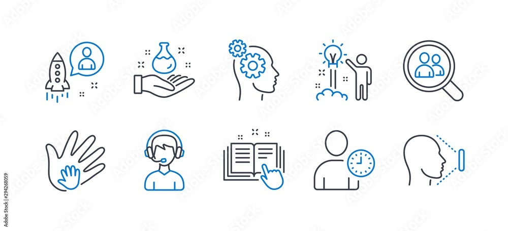 Fototapeta Set of People icons, such as Search employees, Creative idea, Social responsibility, Chemistry lab, Time management, Thoughts, Startup, Technical documentation, Consultant, Face id. Vector