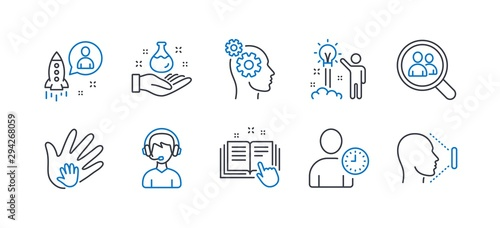 Fototapeta Set of People icons, such as Search employees, Creative idea, Social responsibility, Chemistry lab, Time management, Thoughts, Startup, Technical documentation, Consultant, Face id. Vector obraz