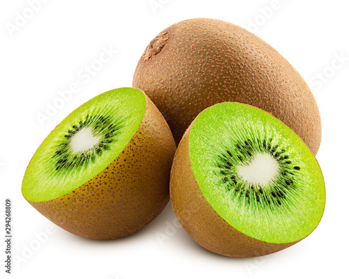 Valokuvatapetti kiwi isolated on white background, full depth of field, clipping path