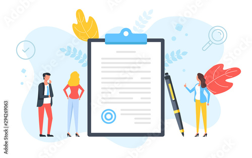 Fototapeta Sign a document. Contract, agreement, signature, application form, business deal concepts. People standing around clipboard with document with stamp and pen. Modern flat design. Vector illustration obraz