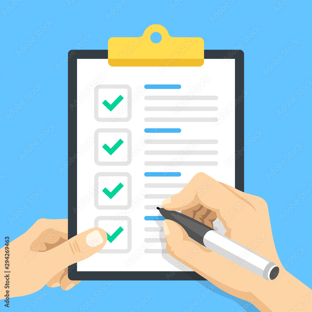 Fototapeta Checklist. Hand holding pen and hand holding clipboard with check list and check marks. Marking checkboxes. Green checkmarks. Flat design. Vector illustration