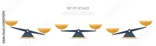 Vector of set of different scales in a flat style on white background Poster Mural XXL