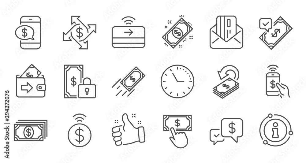 Fototapeta Money payment line icons. Accept transfer, Pay by Phone and Credit card. Cash linear icon set. Quality line set. Vector