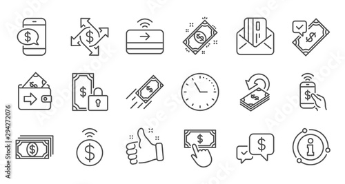 Money payment line icons Wallpaper Mural
