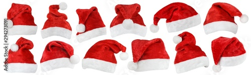 Set of red Christmas Santa Claus hat isolated on white background Canvas Print