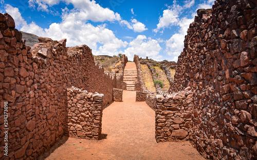 Ancient walls and buildings dating back to the Wari culture, at the Pikillacta a Canvas Print