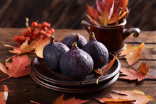 Fresh Figs On Autumn Table