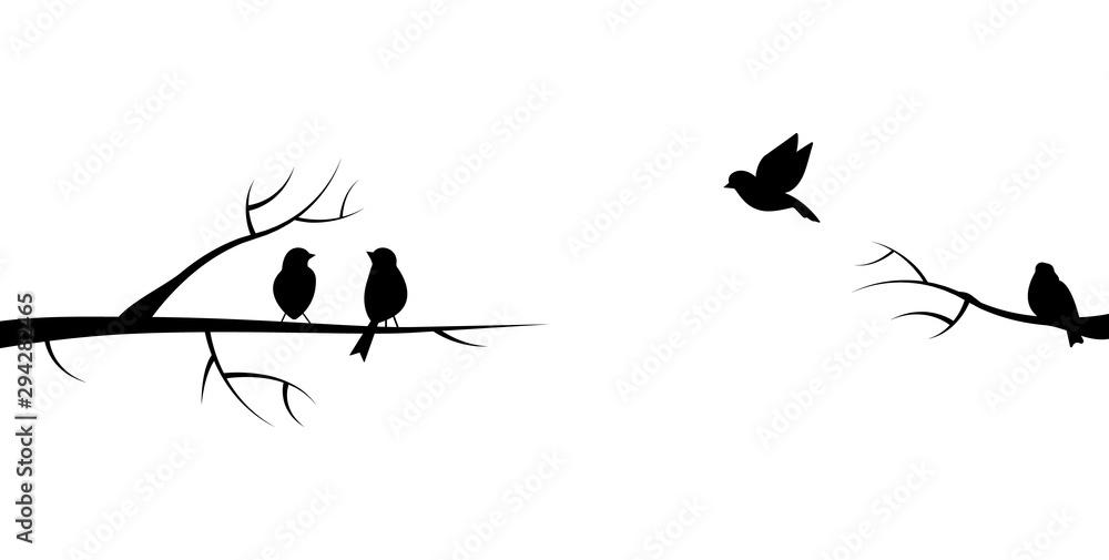 Fototapeta Flying bird branch silhouette illustration