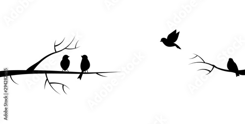 Flying bird branch silhouette illustration Canvas Print