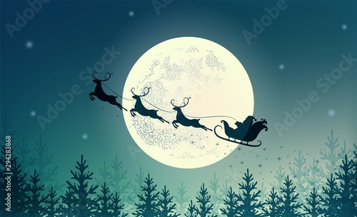 Obraz Santa Claus on sleigh with reindeer on background of full moon. Merry Christmas and happy New year. Design for holiday poster, banner, invitation, congratulations, greeting card.  Vector illustration - fototapety do salonu