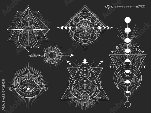 Vector set of Sacred geometric symbols and figures on black background Canvas Print