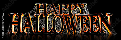 Backlit Happy Halloween text covered in spooky spider webs banner - 3d render Wallpaper Mural