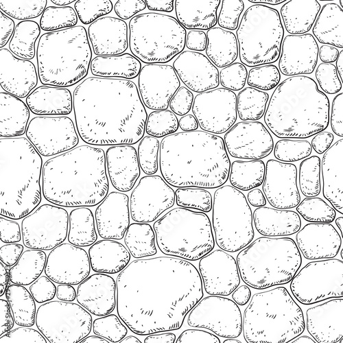 Obraz Seamless pattern with stones. Vector background with pebble at engraving style. - fototapety do salonu