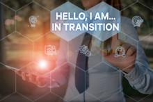 Handwriting Text Hello I Am In Transition. Conceptual Photo Changing Process Progressing Planning New Things Woman Wear Formal Work Suit Presenting Presentation Using Smart Device