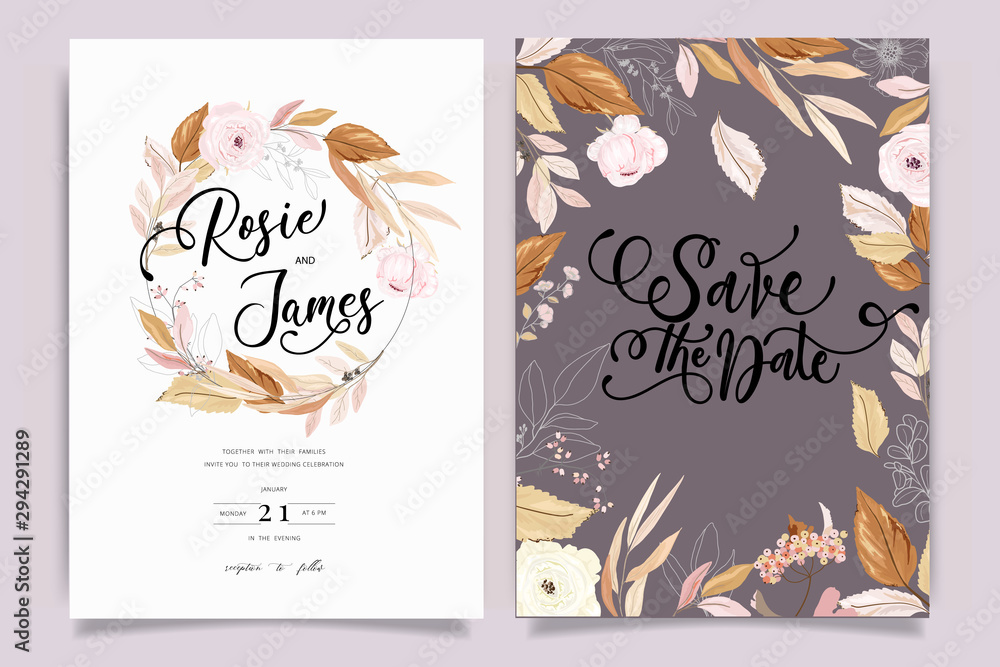 Fototapety, obrazy: Autumn and fall Flower Wedding Invitation set, floral invite thank you, rsvp modern card Design in pink brown  floral with leaf greenery  branches decorative Vector elegant rustic template