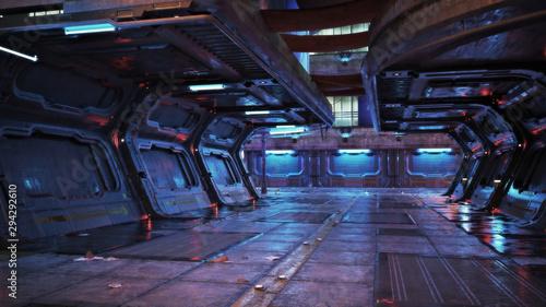 Obraz Urban city retro futuristic back drop sci fi corridor background with neon accents. 3d rendering. - fototapety do salonu