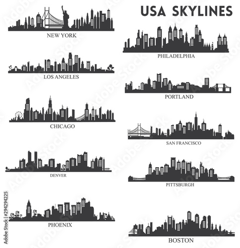 Usa skyline silhouette collection vector Wallpaper Mural