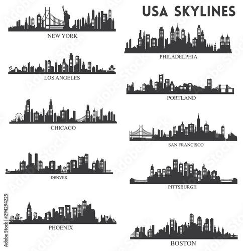 Photo  Usa skyline silhouette collection vector