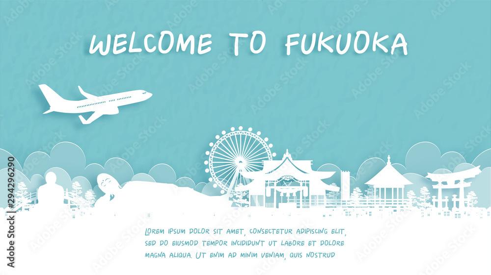 Fototapeta Travel poster with Welcome to Fukuoka, Japan famous landmark in paper cut style vector illustration.