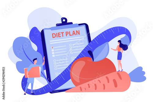Tiny people nutritionist and diet plan checklist with vegetables, fruit Fototapet