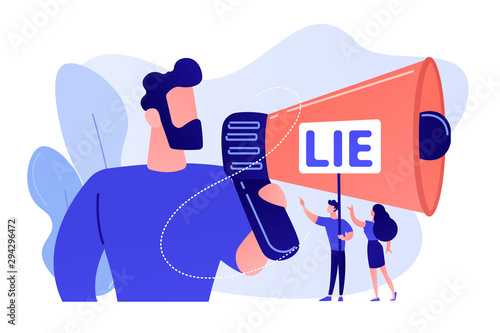 Businessman with huge megaphone cheating and tiny people holding word lie Fototapete