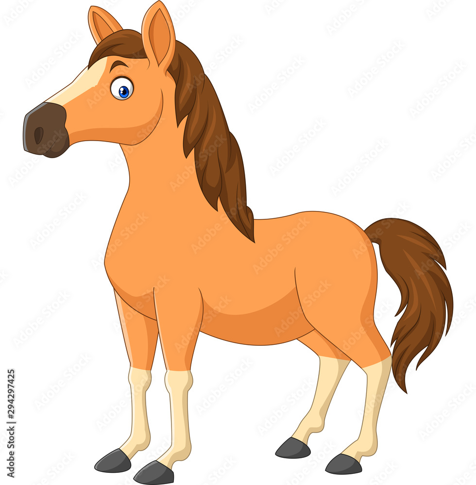Fototapety, obrazy: Cartoon brown horse isolated on white background