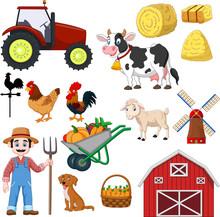 Set Of Farming Cartoon On A Wh...