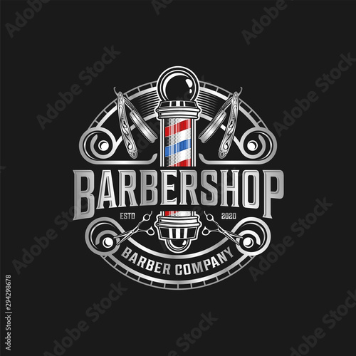 Stampa su Tela PrintBarbershop logo with a complex design of elegant vintage details with professional scissors and razor elements, for your business and professional barbershop label with quality services