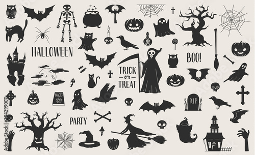 Cute hand drawn Halloween related silhouettes collection Wallpaper Mural
