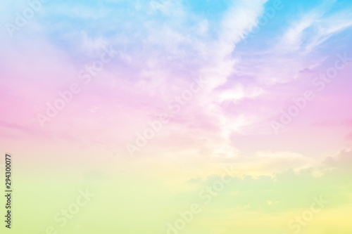 Foto auf Gartenposter Flieder soft focus of sweet rainbow pastel vintage tone colors sky background