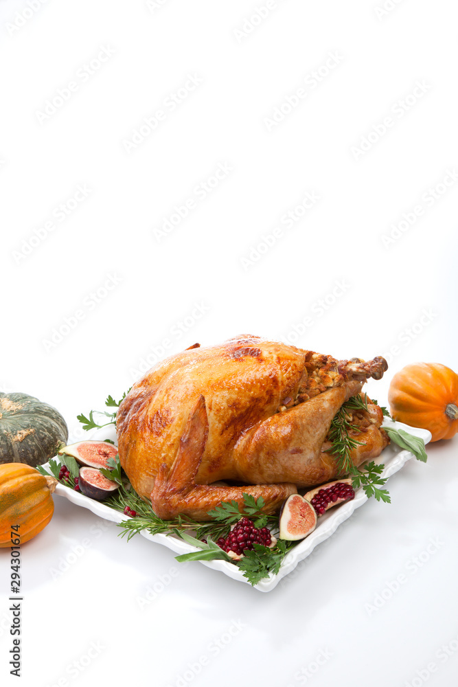Fototapety, obrazy: Traditional Roasted Turkey on White With Pumpkin