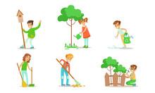 Children Volunteering In The Garden Or Park Set, Teen Boys And Girls Gathering Garbage, Watering Trees, Repairing Fence, Sweeping And Raking Leaves Vector Illustration