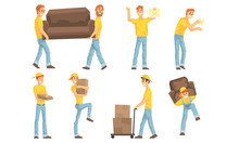 Couriers Carrying Parcels, Cardboard Boxes And Furniture, Moving And Delivery Company, Package Mail Delivery Service Vector Illustration