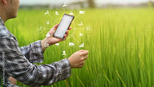 Fototapeta Agriculture technology farmer man using smartphone analysis data and visual icon. obraz