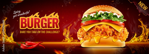 Fotografie, Obraz  Hot fried chicken burger banner ads