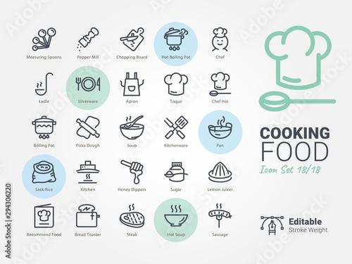 Cuadros en Lienzo  cooking Food vector icon collection