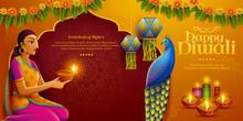 Diwali Design With Indian Woman
