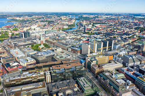Foto auf Gartenposter Stockholm Stockholm, Sweden. Panorama of the city. Business part of the city, train stations. Aerial photography
