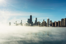 Chicago Downtown And Lake Michigan Covers By Fog From Winter Polar Vortex